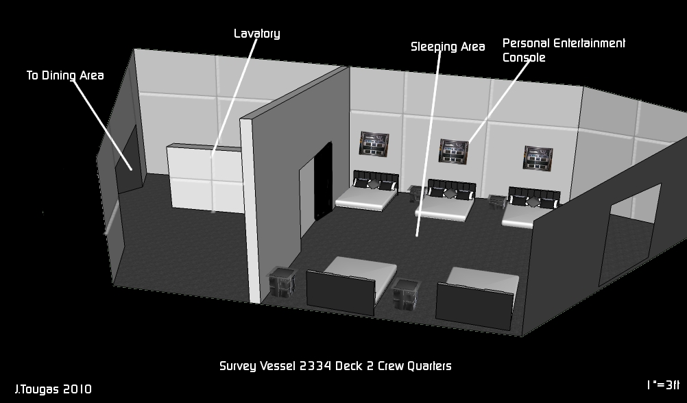 deck plan Deck 2 Crew Quarters