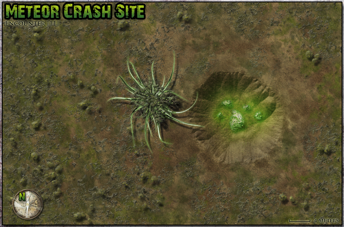 Famine in Far-Go meteor crash site encounter. A remake of an encounter map for the old TSR Gamma World module.