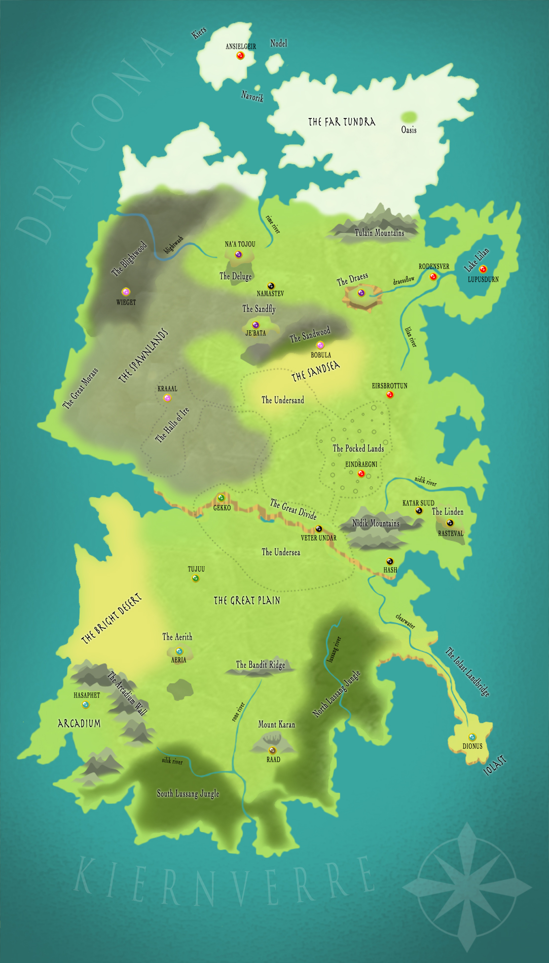 Hiernvall - A map i made for a group worldbuilding project my friends and I ran one evening.