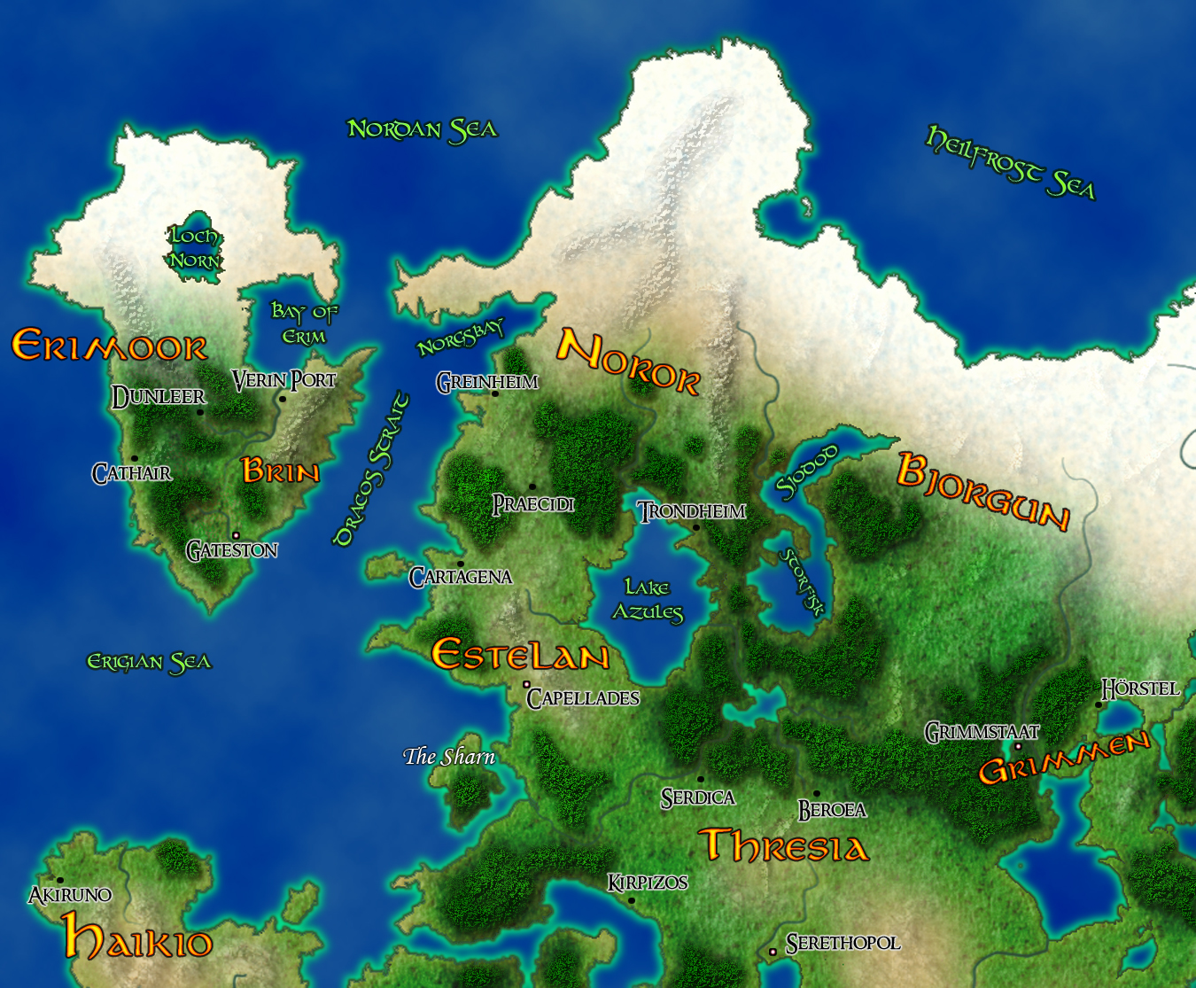 A section of my Pathfinder world Therizoth. Not quite done yet.