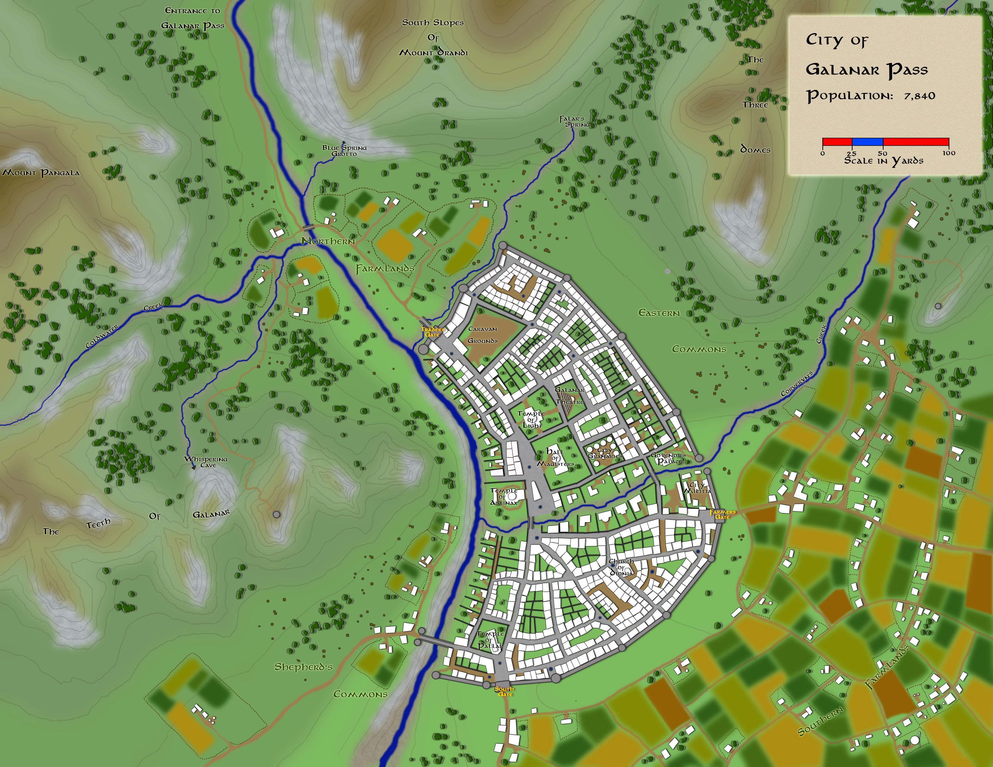 This is the city of Galanar Pass in the Free States.  It is at the southern end of the Galanar Pass.  This map was done in Photoshop