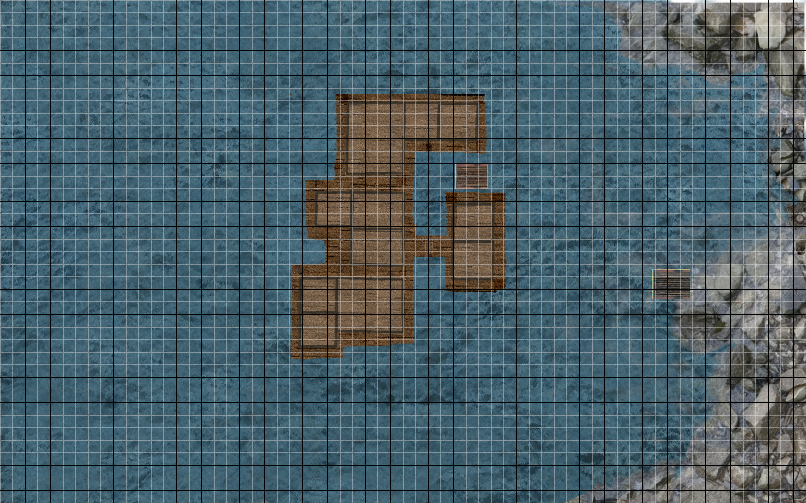 My most up to date project: The final version of the mountain lake with the wooden swimming houses.