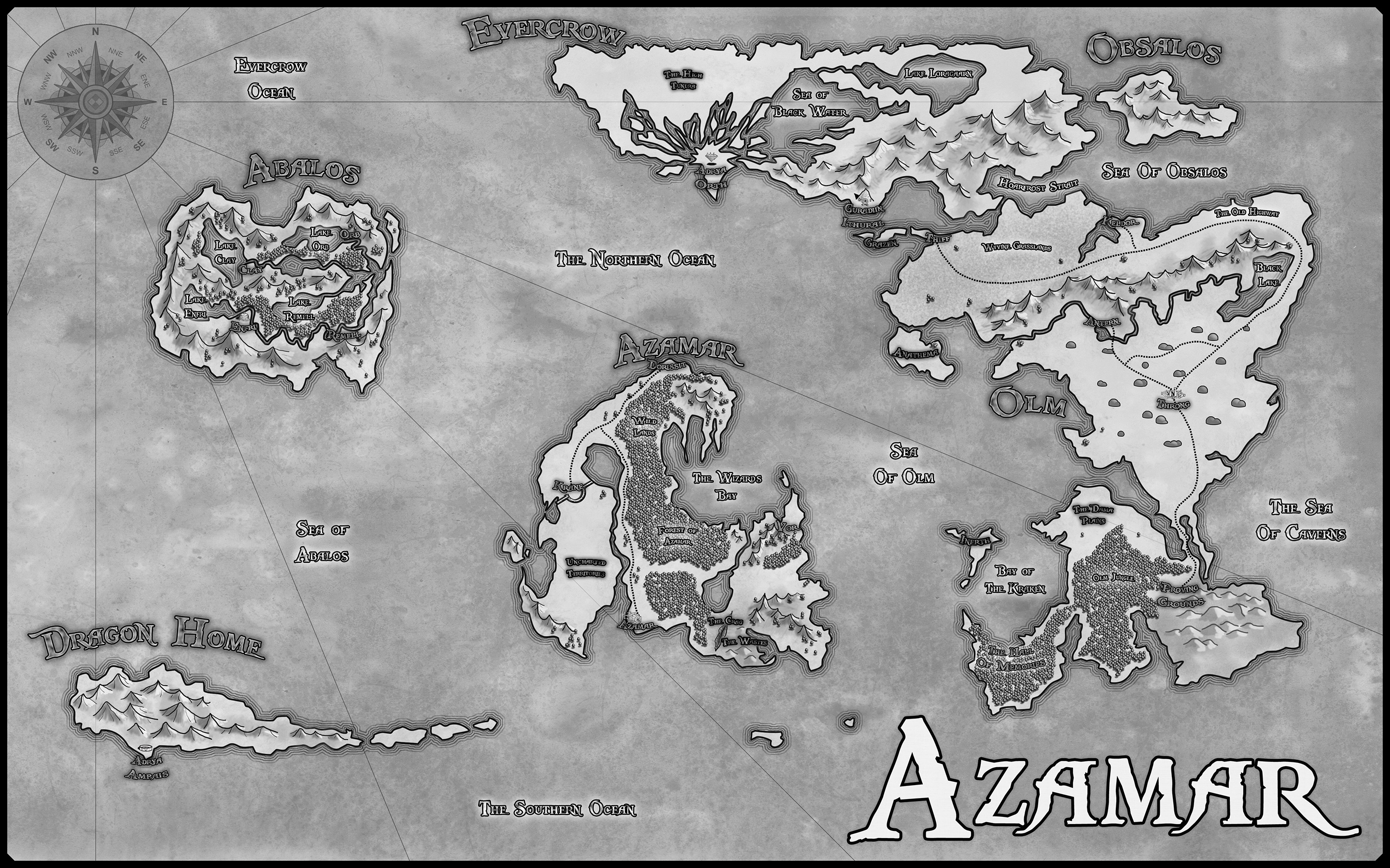 A black and white commission for Wicked North Games of the world of Azamar.