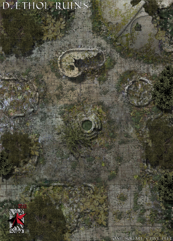 Daethol Ruins - This is an encounter map for an adventure by BlackStar Studios for its Shadowlands campaign setting. The PCs have reached the ruins of an ancient city and encounter an NPC barricaded in a nearly destroyed building - hiding from some scary undead marauders.