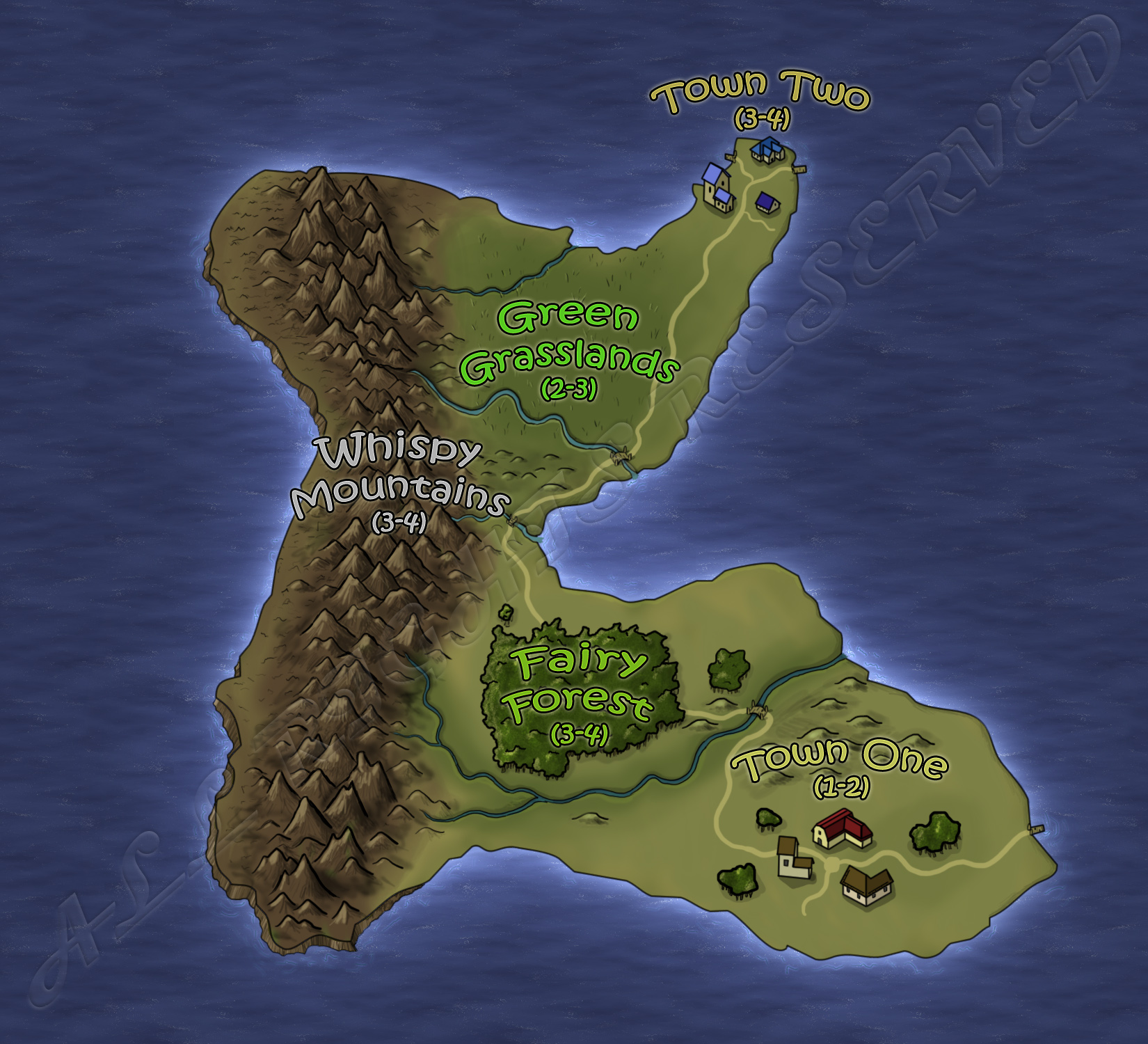 Slightly cartoony map commission