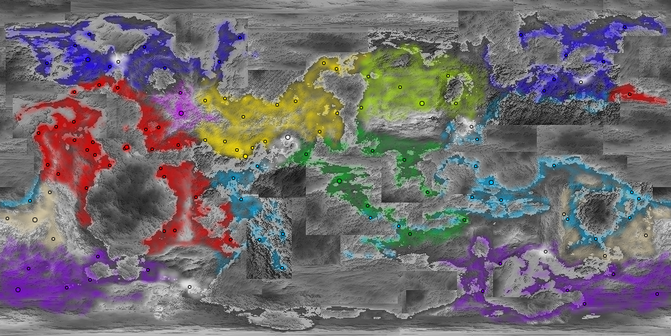 Poppulation map of the Xen'vi clans/nations and their most notable cities. Humans included.