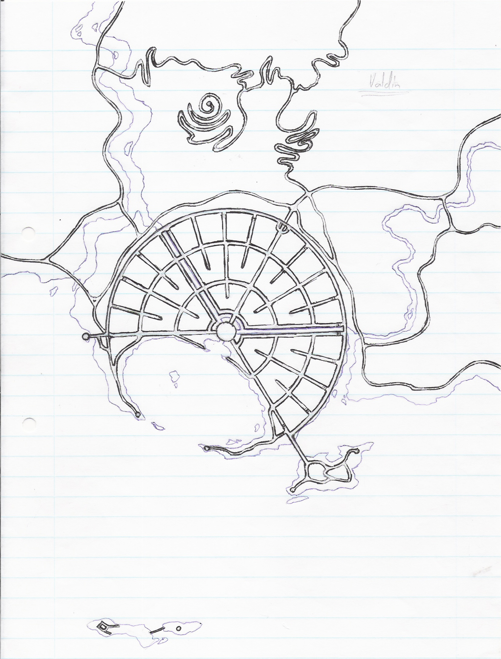Valdin, Capitol of the Valiero'vi. Original hand drawn image.
