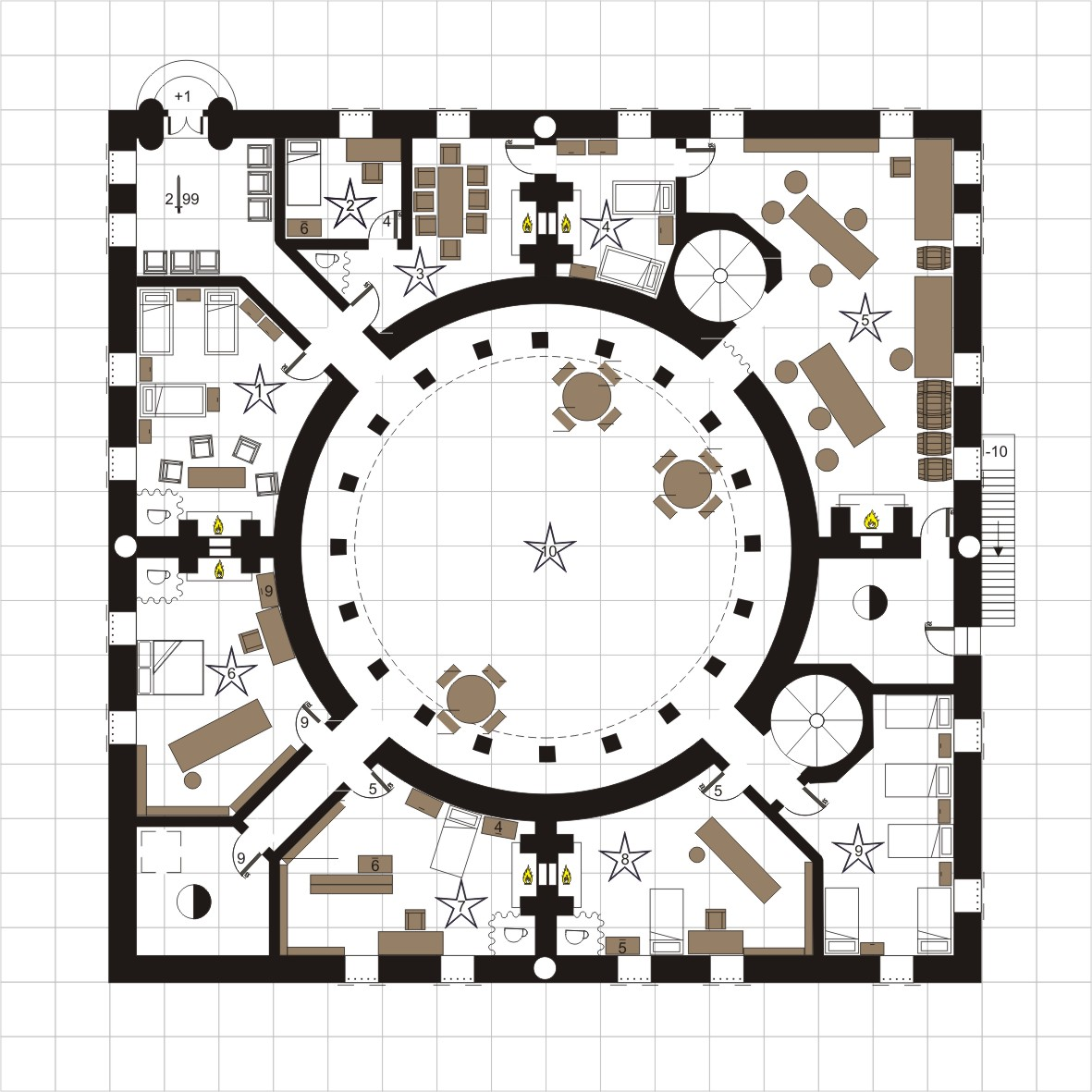 Guild of Arcane Lore. I drew this in CorelDraw 11 for an RPG campaign using Harnworld. This is just the ground floor.
