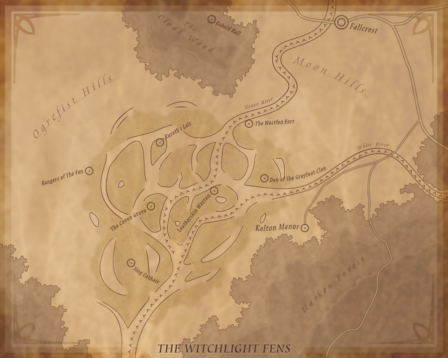 A map of the Witchlight Fens