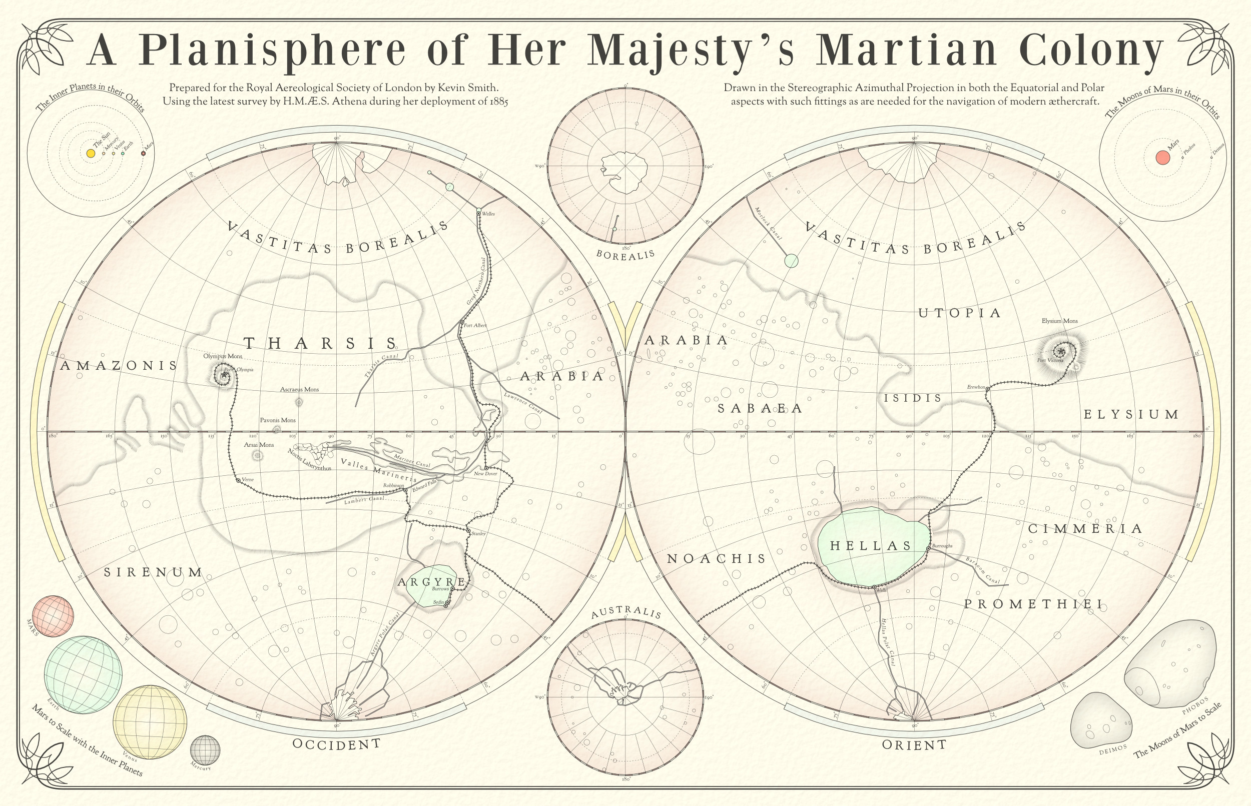 A Planisphere of Her Majesty's Martian Colony.