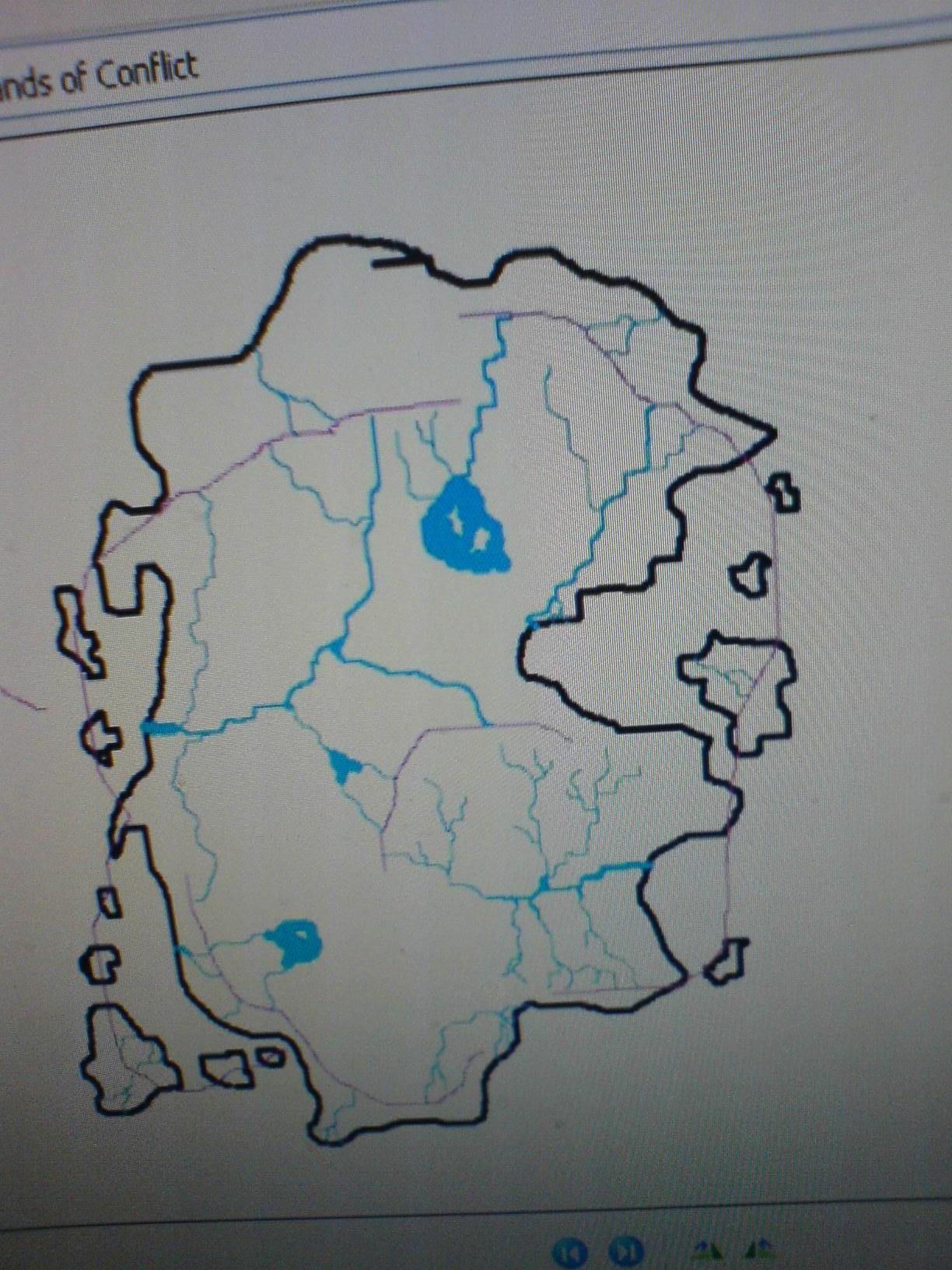 Sketch: Lands of Conflict: River map with mountains outlines (hope the name isn't copyrighted, i just named it that way way back when i started building a world and needed to name the folder)