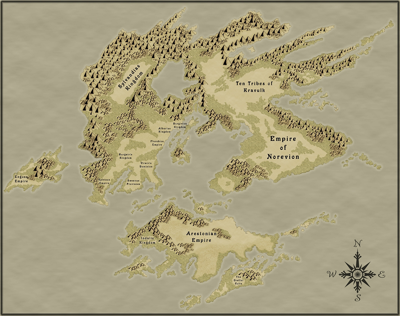 RPG World Map with green colored forests.