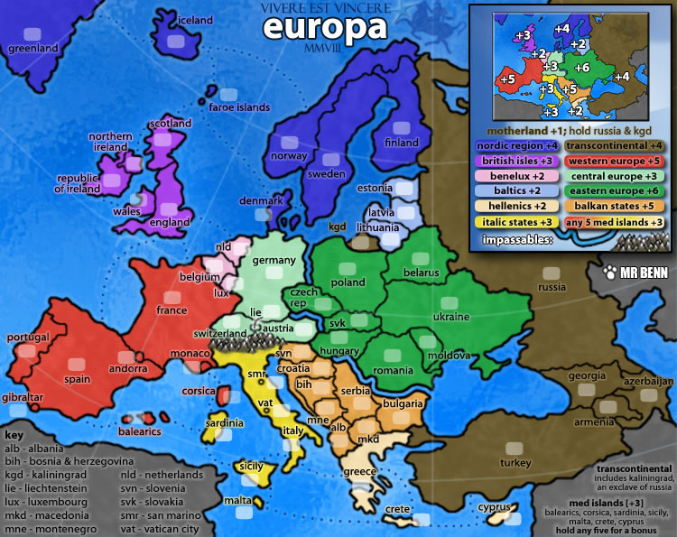 Europe. Map created for use on Risk-style gaming site ConquerClub.com