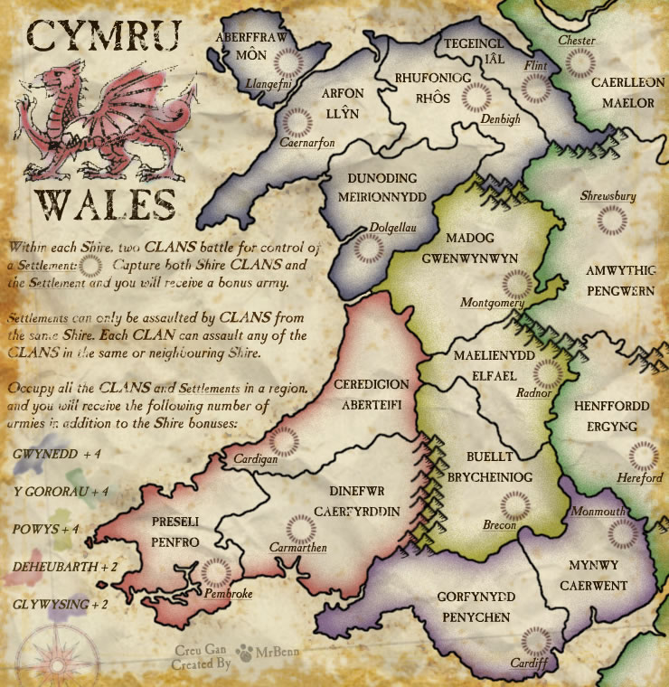 Wales. Map created for use on Risk-style gaming site ConquerClub.com