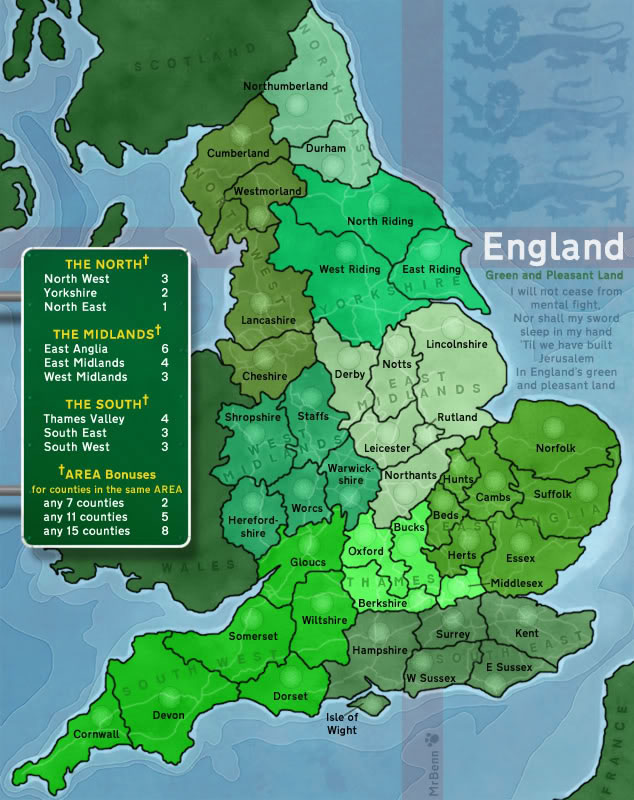 England. Map created for use on Risk-style gaming site ConquerClub.com