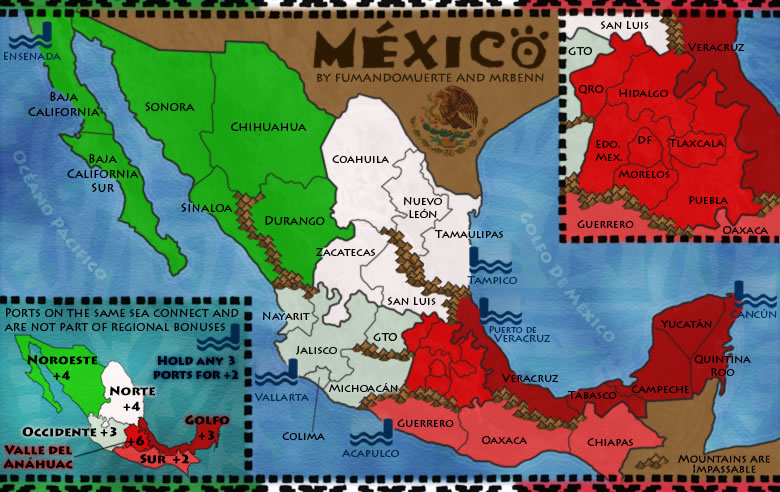 Mexico. Map created for use on Risk-style gaming site ConquerClub.com