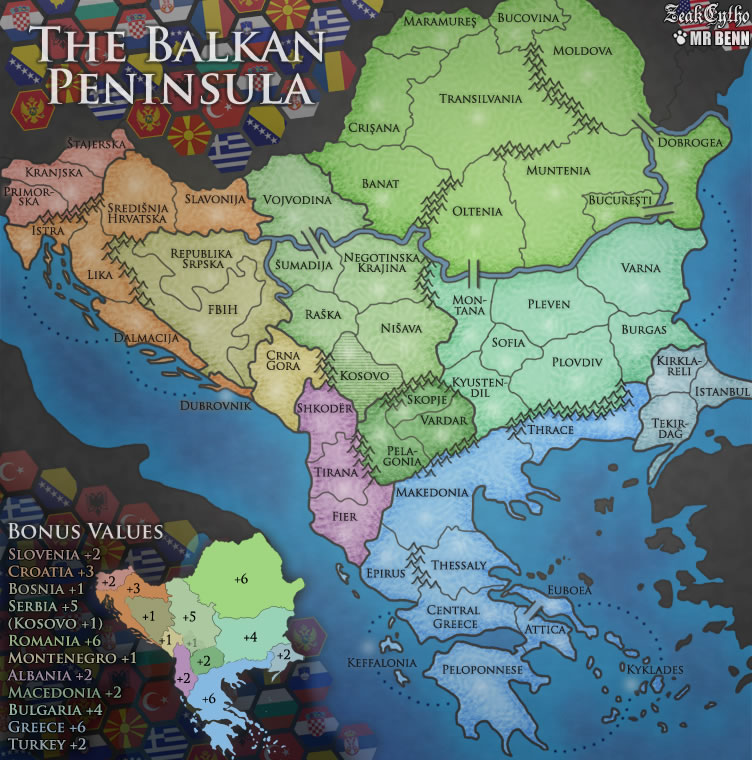 Balkan Peninsula. Map created for use on Risk-style gaming site ConquerClub.com