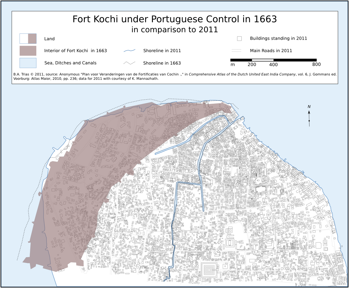 Fort Kochi under Control of the Kingdom of Portugal 1663