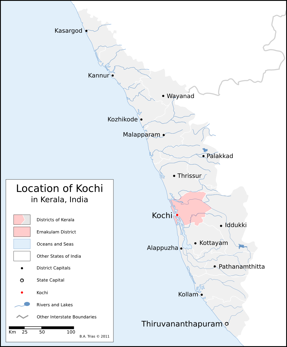 Location of Kochi in Kerala India