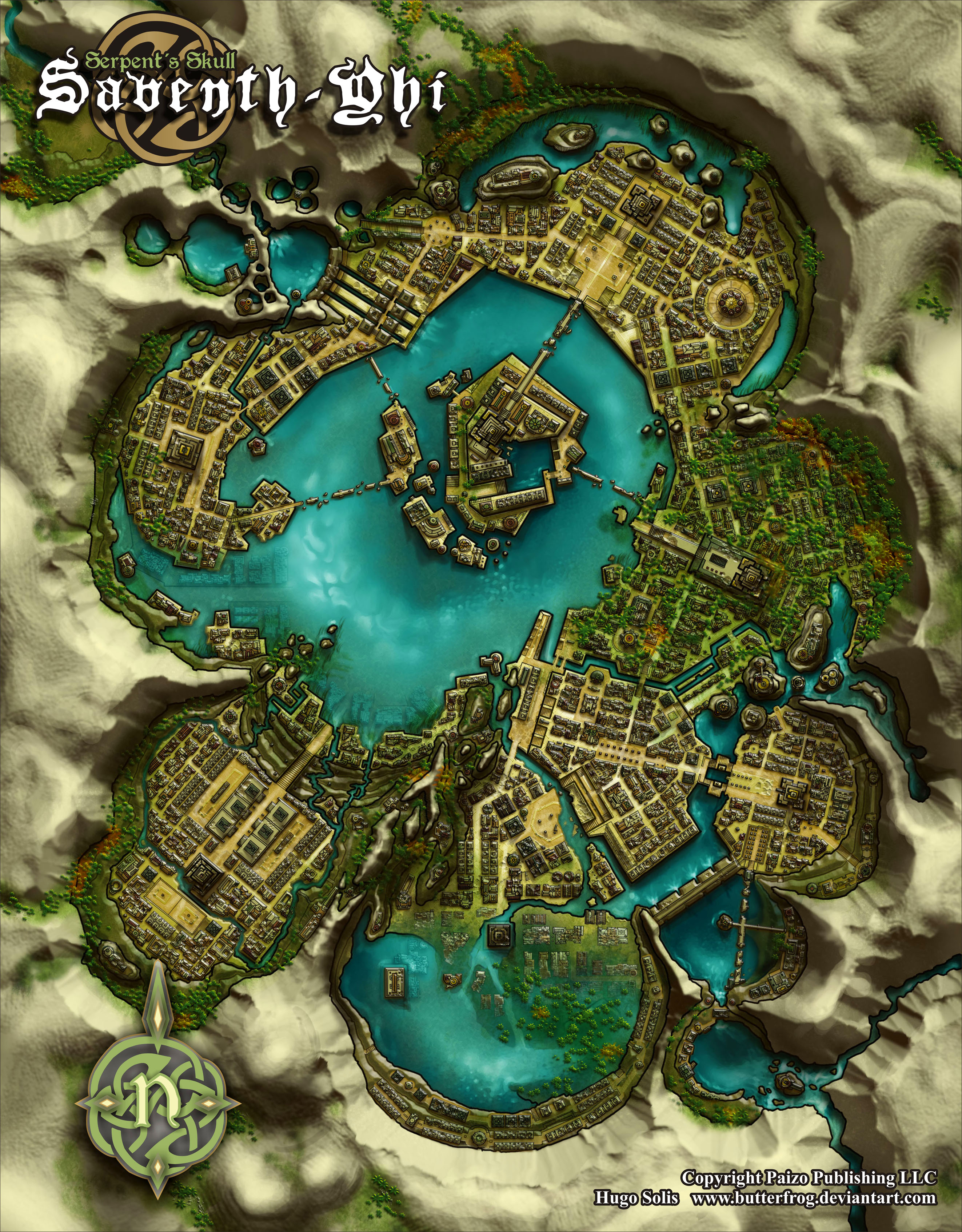 """Saventh Yhi  Copyright Paizo Publishing LLC.  The name of the city means """"The City of the Seven Spear"""" on an old Golarion dialect (Aztlani?). This city is the equivalent of El Dorado in the Pathfidner roleplaying game. This one is for the AP Serpent's Skull and appeared on the #3 issue.  The biggest changes in final version of the map, Rob's version, are that the city surrounded by colorful trees and has his neat hand-made look.  As Pitax, this one was a city design only but this time James Jacobs asked me to do a """"final"""" map, all neatly finished and shiny. You can see the difference as this one has sharper colors and nice and crispy """"inked""""outline, thou I didn't had any key names or any other detail except the name of the wards, which was pretty much generic. This map had one BIG requirement: it needed seven spots/temples that were to match a city that lied exatly undertneath this one. The other only points/requirements I was asked for was that one ward was """"isolated"""" from the other districts by mountains and accesible by mountain trails, that the central isle was removed from the main land by broken bridges, that one district were overrun by jungle. Everything else was left up to me.  My original idea was to have this city entirely out of city carved into a huge rock mountain worn down by running and filtering water. You could say that the entire city lies in a single (fragmented maybe) block of stone, hence the scarce vegetation on top and on the cliffs, that was my excuse for the city to be """"lost"""" and not easely accesible other than walking into it inside one of the rives that run into this basin throug carved out rived caves and tunnels, if you see one of the rives on the from the """"east"""" pops out of nowhere, that would be a cave. I added some round caves on the edges as to note some sort of """"cenotes"""" formation, round pools of deep running water which sometimes lie underneath the surface. Also, a main feature of the map are a couple BIG dams, which were used to """