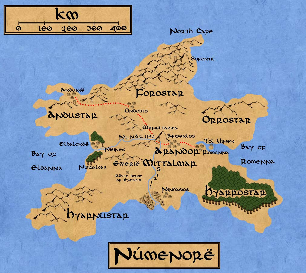A map of Numenor, from the world of J.R.R. Tolkien.