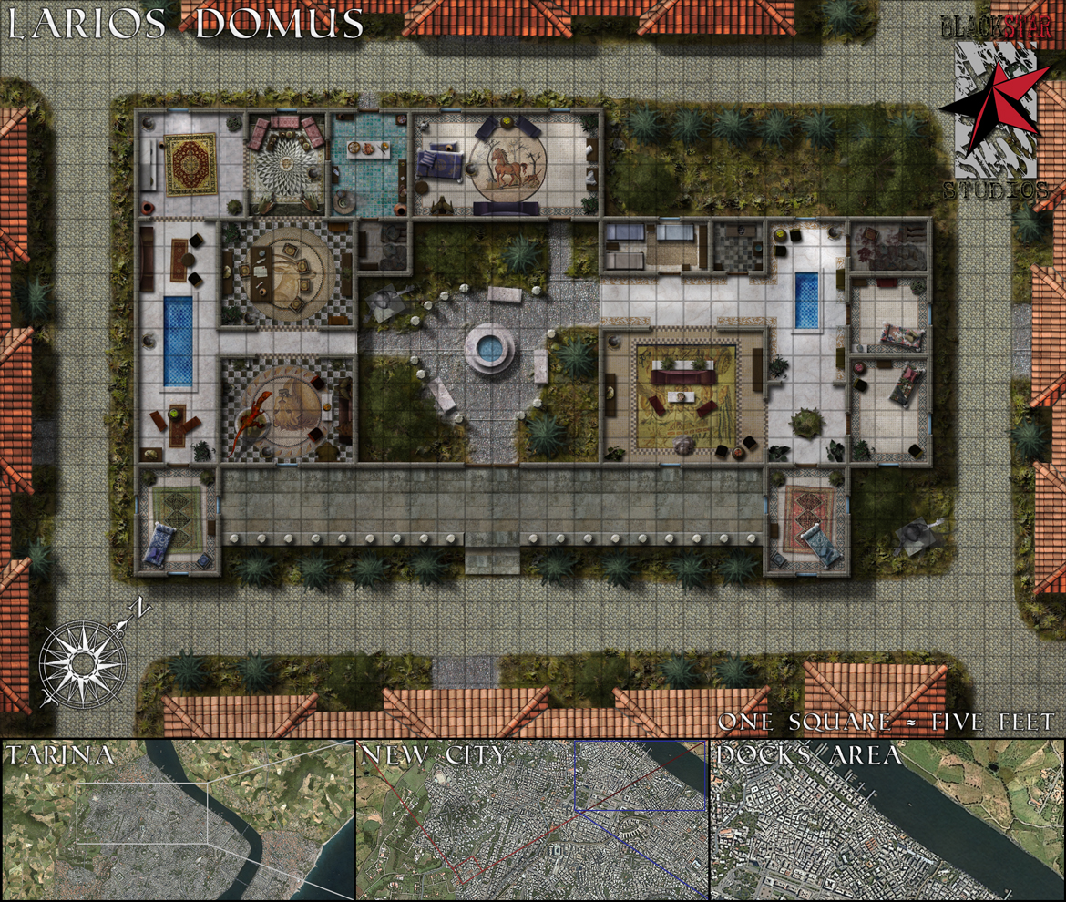 Larios' Domus - This is an encounter map for BlackStar Studios' Shadowlands campaign setting. The PCs have a run-in with a local mob boss at his home...and maybe at his dockside offices.