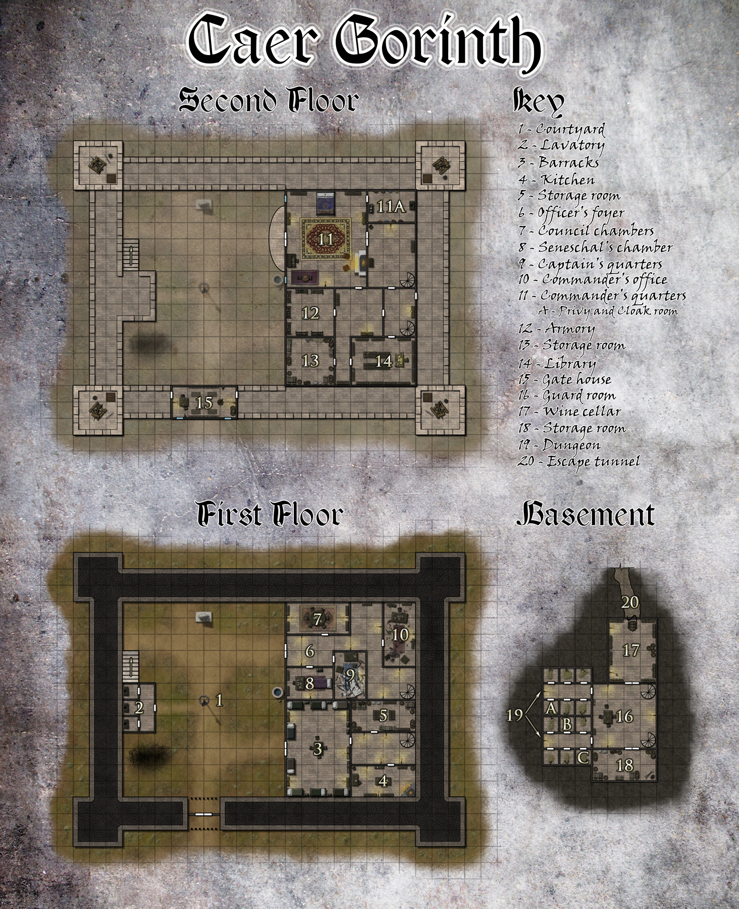 Caer Gorinth - This is a building map for an adventure by Silver Crescent Publishing for its Realms of Twilight campaign setting. It details the interior of a keep that has been seized by a group of lycanthropes.