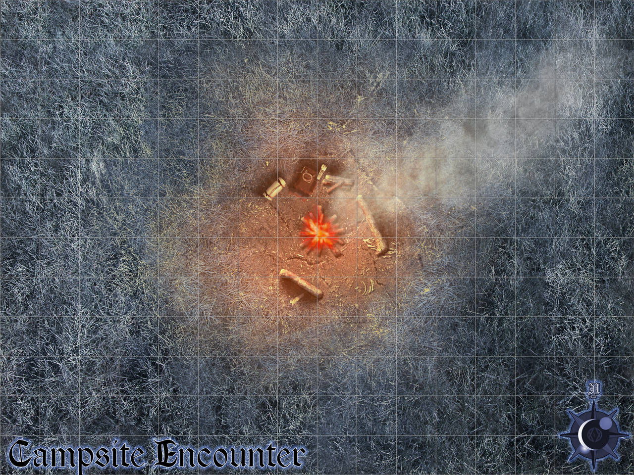 Campsite Encounter - This is an encounter map for an adventure by Silver Crescent Publishing for its Realms of Twilight campaign setting. The PCs are jumped by a couple of lycanthropes.