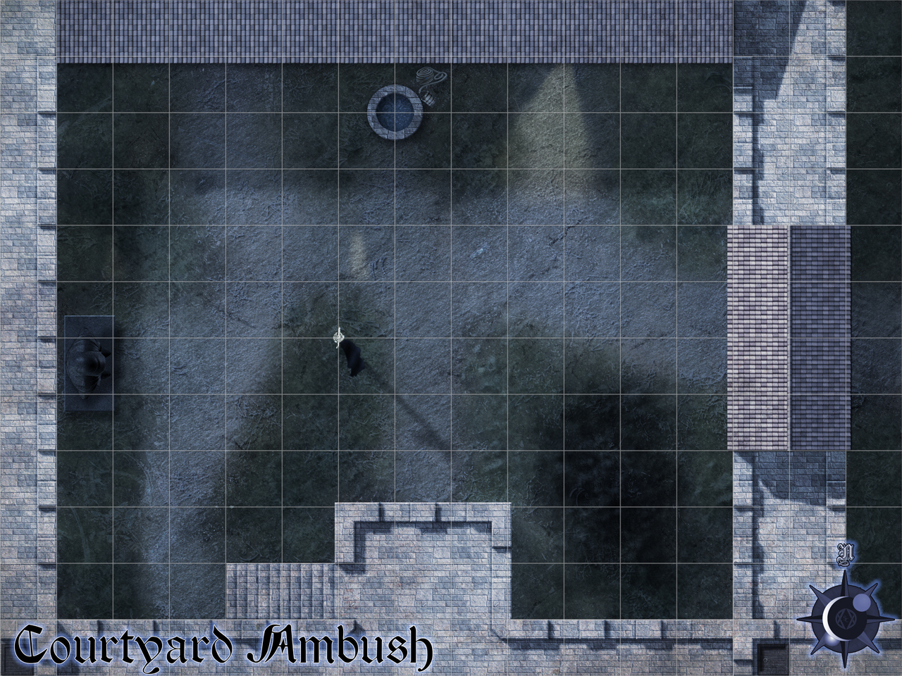 Courtyard Ambush - This is an encounter map for an adventure by Silver Crescent Publishing for its Realms of Twilight campaign setting. The PCs run into a rival faction (including some lycanthropes) that has taken over a keep.