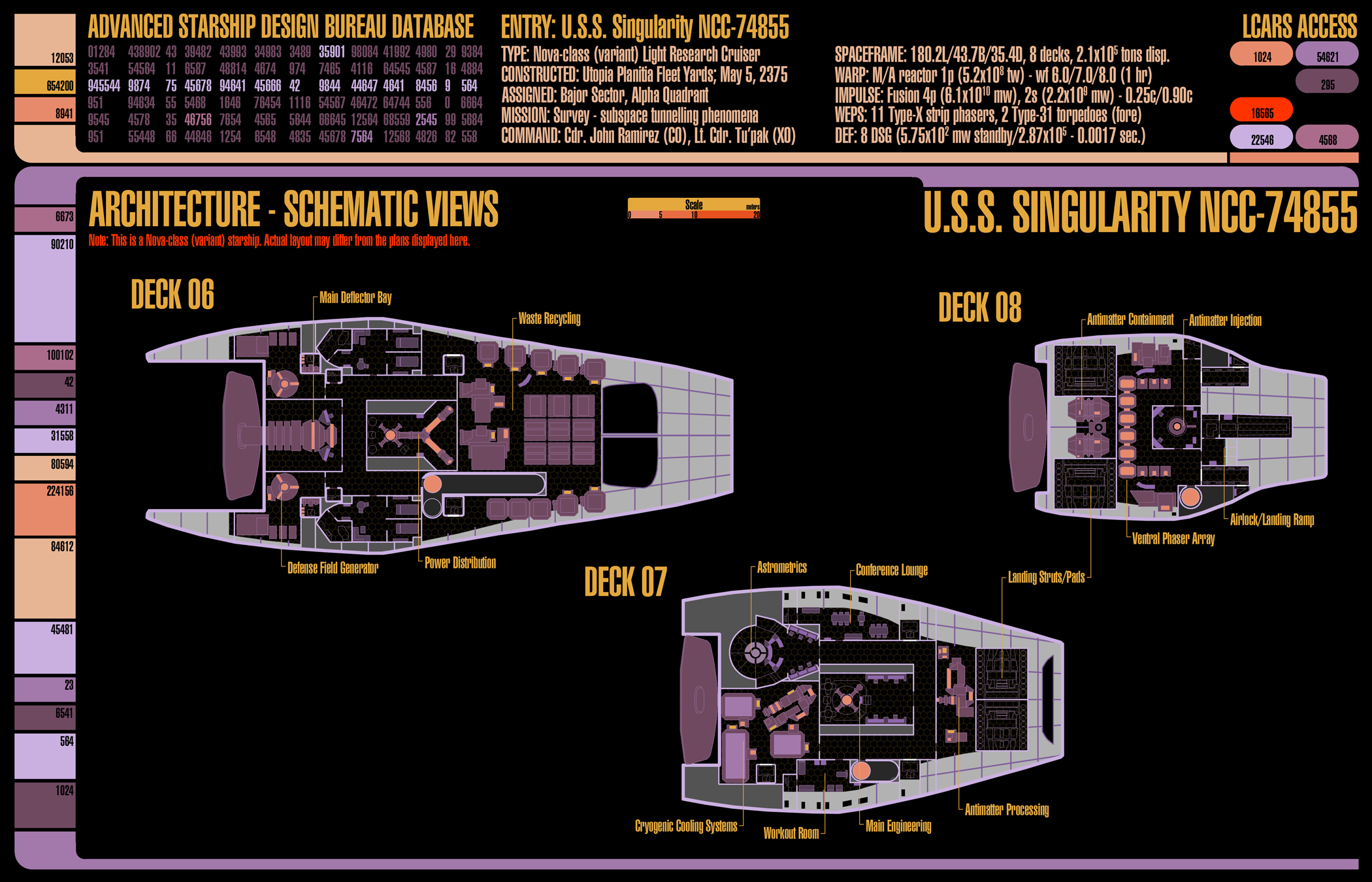 U.S.S. Singularity (NCC-74855) - deckplans for an upcoming Star Trek (TNG-era) game I'll be running using GURPS. These are decks 6-8.