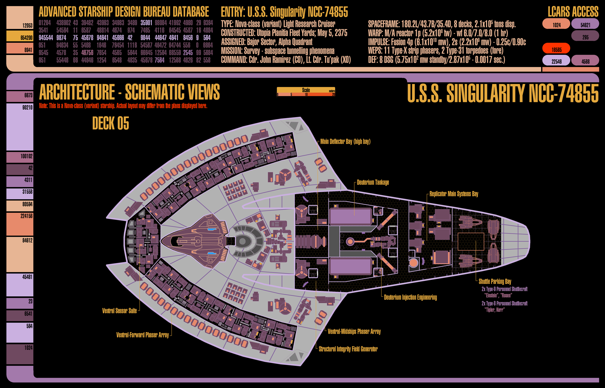 U.S.S. Singularity (NCC-74855) - deckplans for an upcoming Star Trek (TNG-era) game I'll be running using GURPS. This is deck 5.