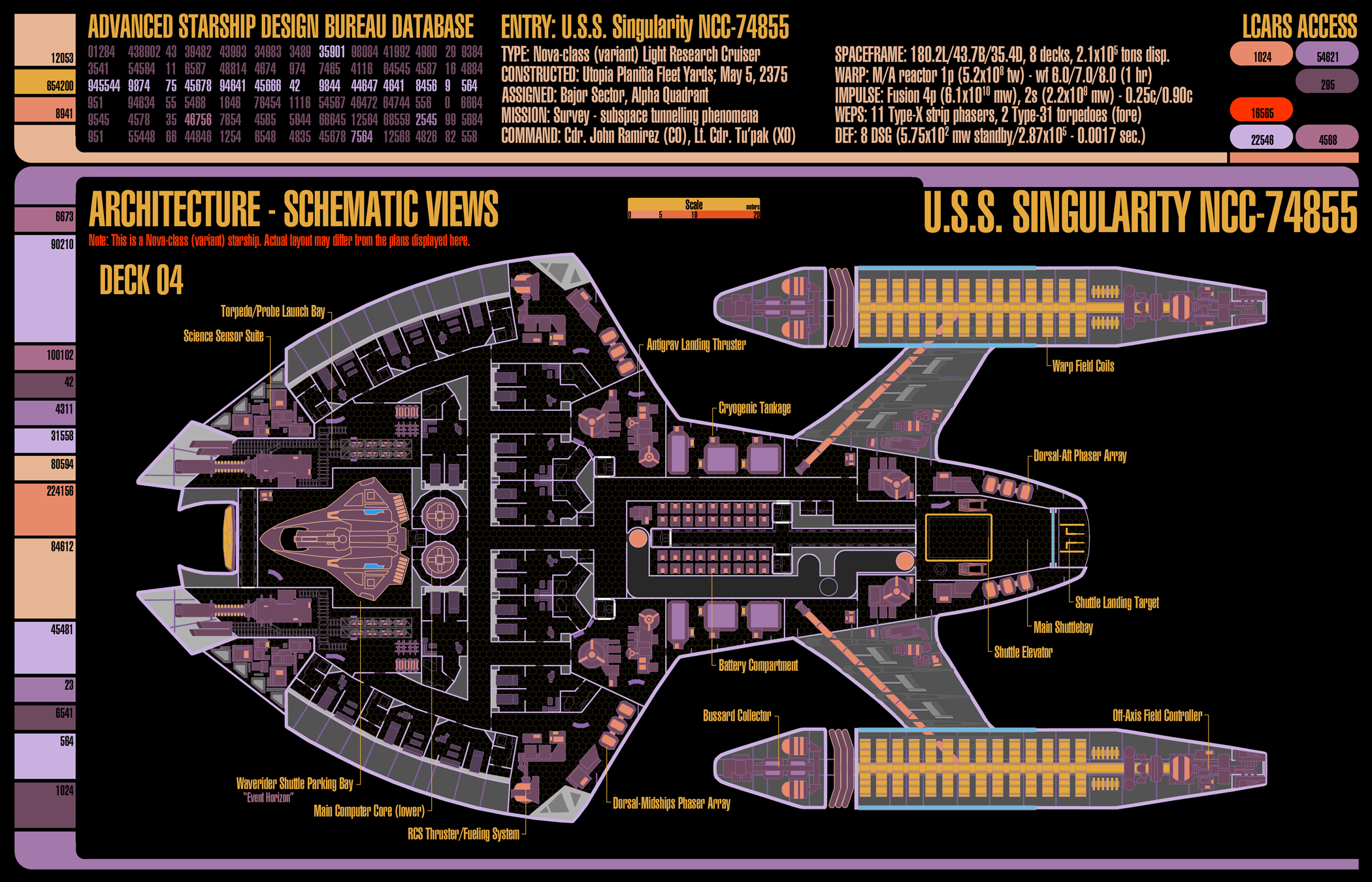 U.S.S. Singularity (NCC-74855) - deckplans for an upcoming Star Trek (TNG-era) game I'll be running using GURPS. This is deck 4.