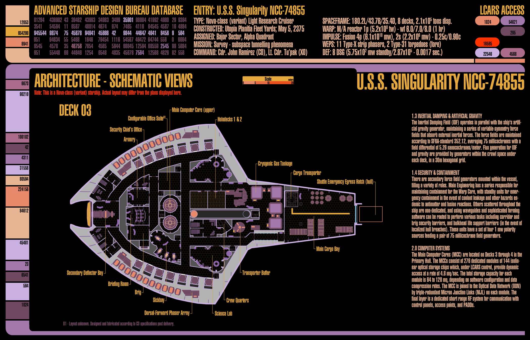 U.S.S. Singularity (NCC-74855) - deckplans for an upcoming Star Trek (TNG-era) game I'll be running using GURPS. This is deck 3.