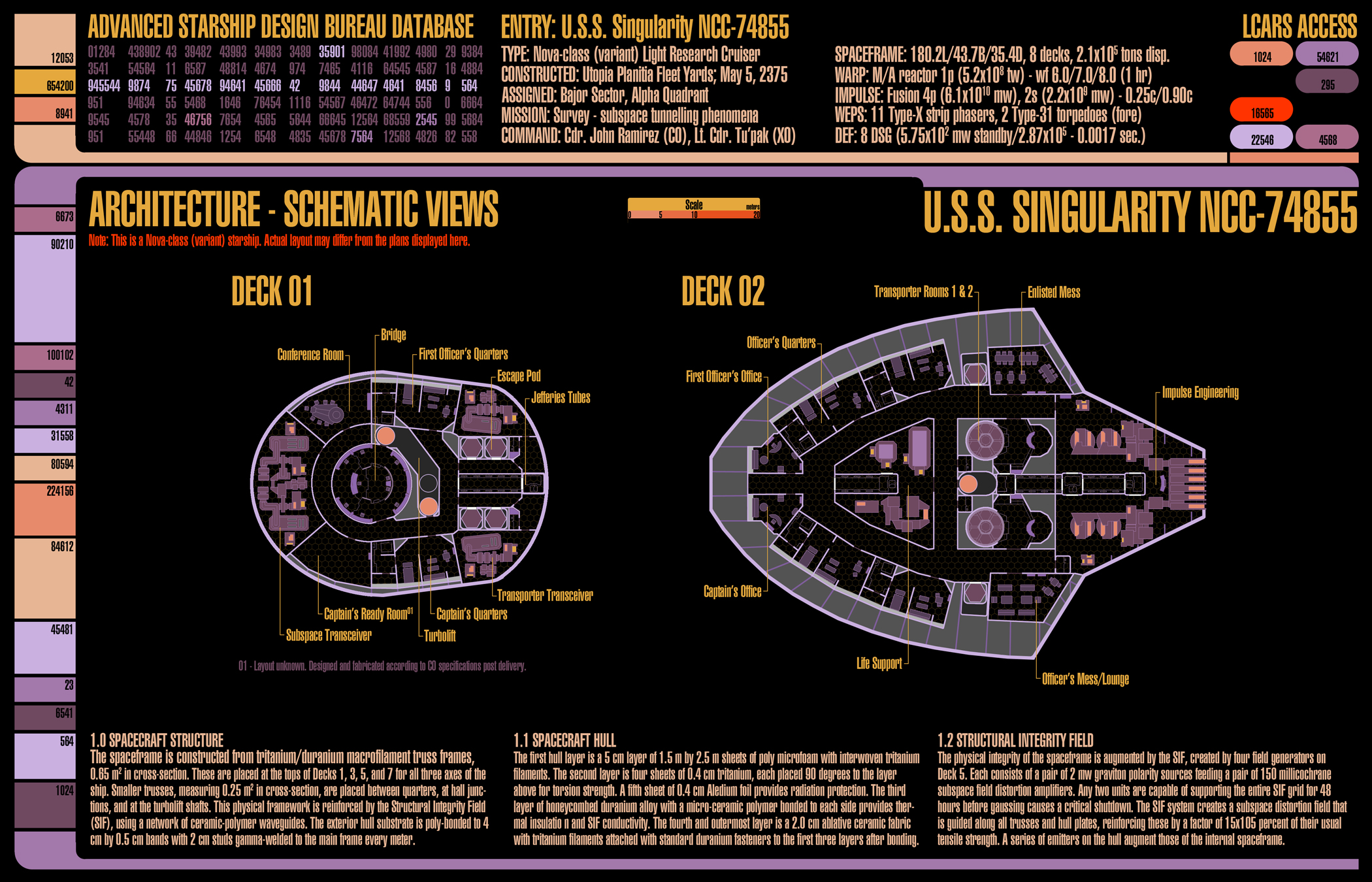 U.S.S. Singularity (NCC-74855) - deckplans for an upcoming Star Trek (TNG-era) game I'll be running using GURPS. These are decks 1 and 2.