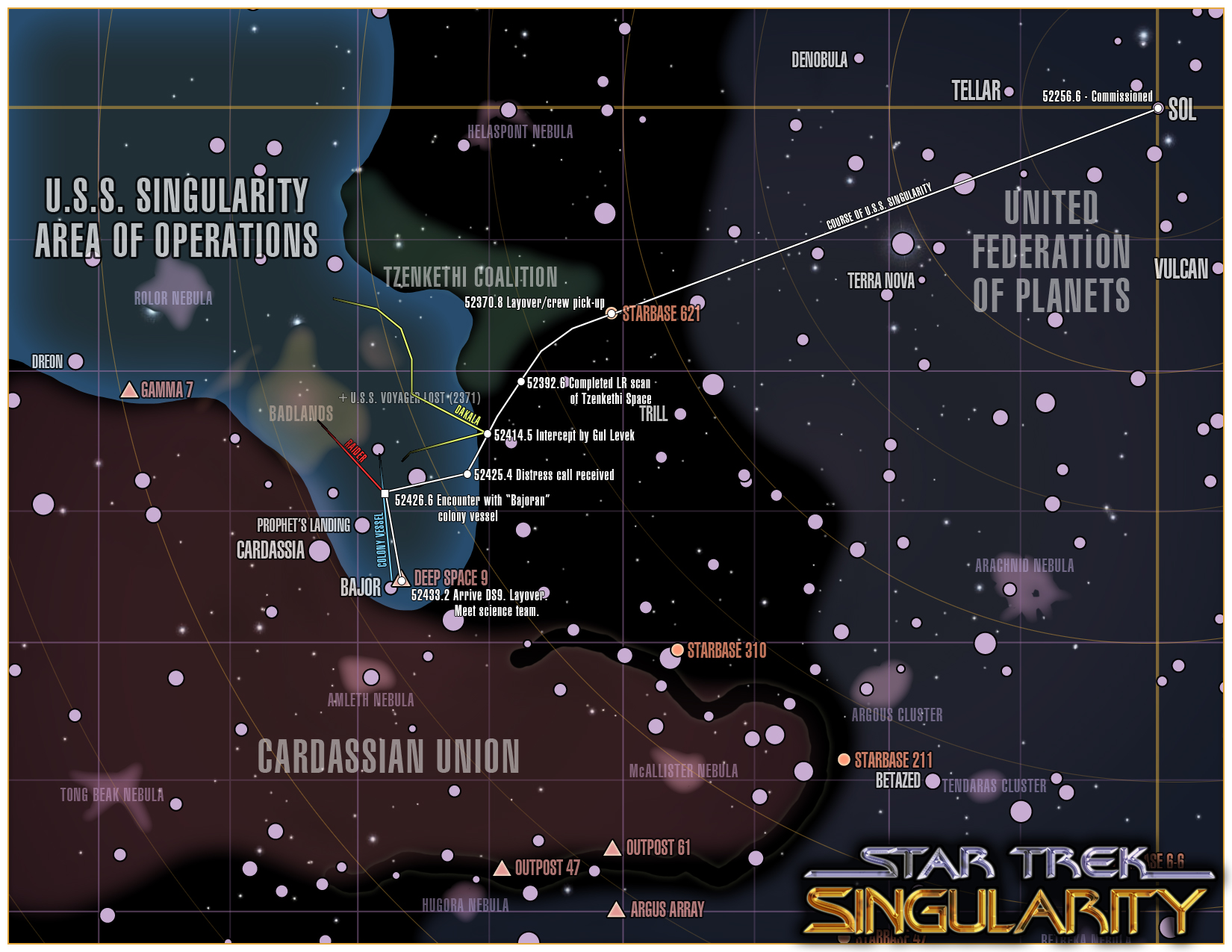 Star Trek: Singularity campaign map - overview campaign map for an upcoming Star Trek (TNG-era) game I'll be running using GURPS. This is the map with GM notes for the first few episodes...it starts with the encounter with Gul Levek.