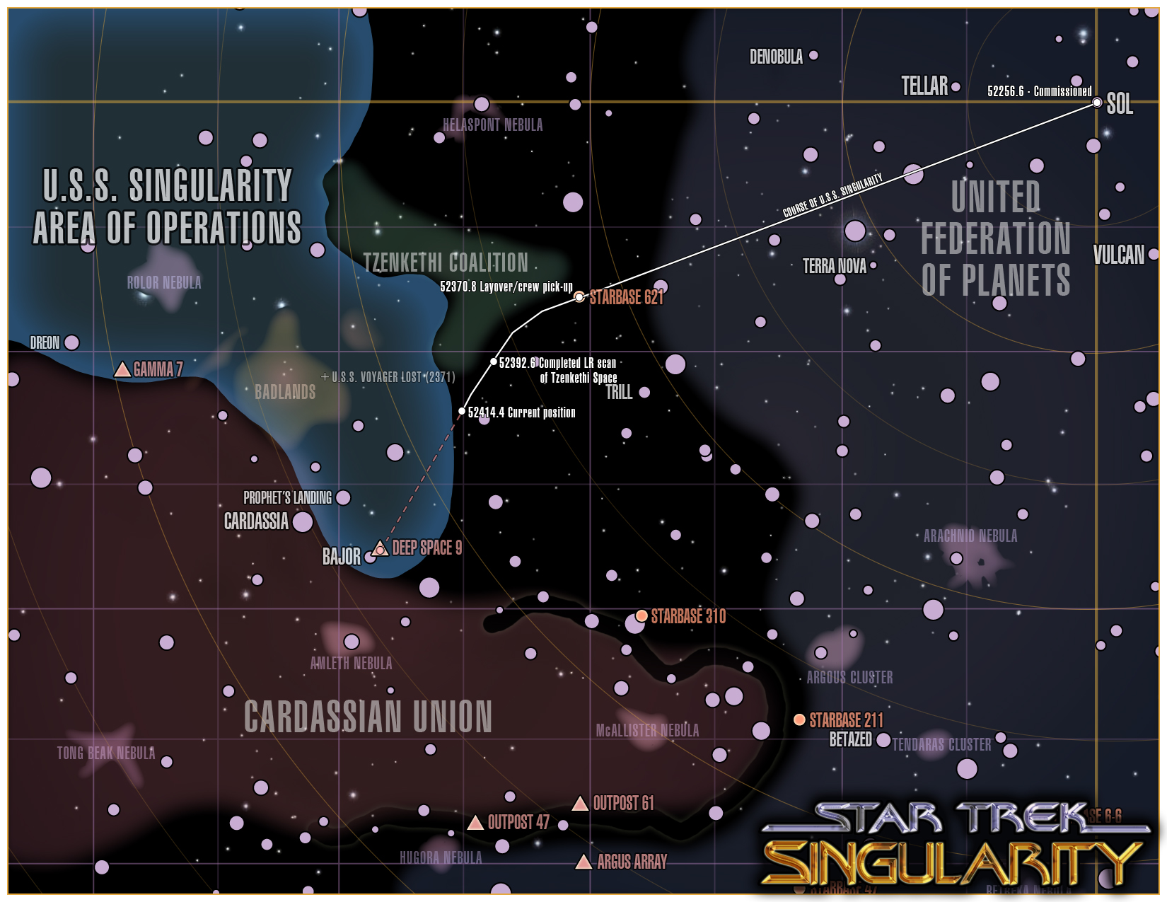 Star Trek: Singularity campaign map - overview campaign map for an upcoming Star Trek (TNG-era) game I'll be running using GURPS. This is the map with player notes as of the start of the game.