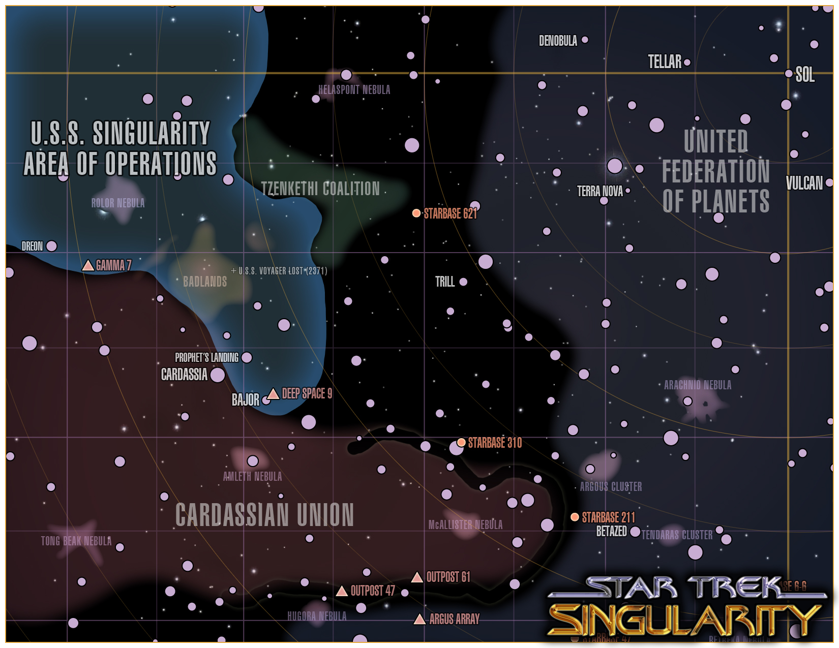 Star Trek: Singularity campaign map - overview campaign map for an upcoming Star Trek (TNG-era) game I'll be running using GURPS. This is the base map.