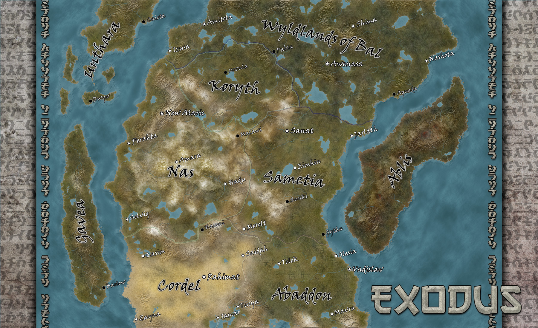 Map of the world of Exodus done for Louis Porter Jr. Design's Neoexodus: A House Divided campaign setting.