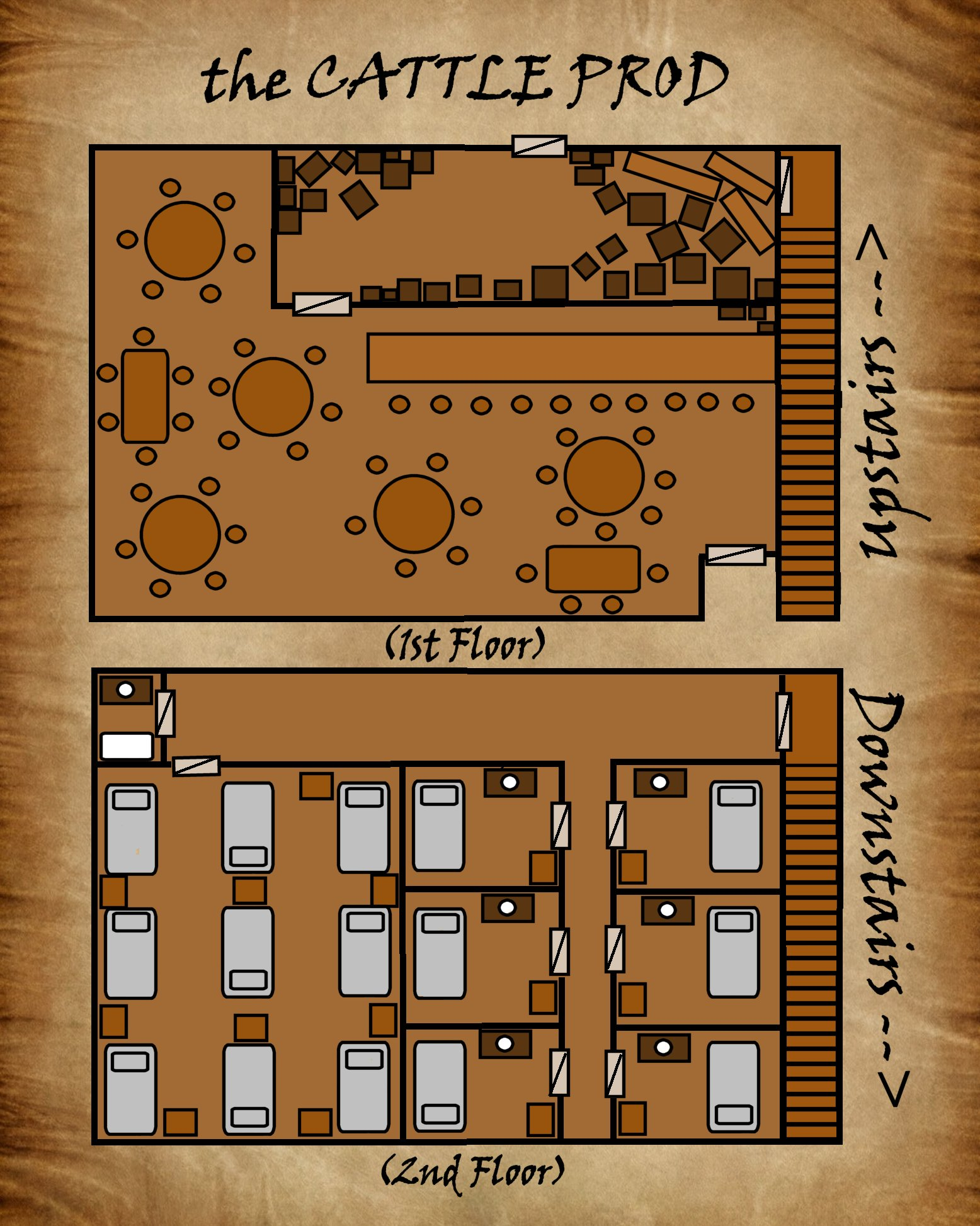 the Cattle Prod Inn - I drew this for an RP that ended up having a very short lifespan. I know it's not great. What I'm looking for are pointers about what I'm doing (or appear to be doing) right and what I'm doing wrong so that I can improve. I don't consider myself a cartographer, but as a DM I feel I owe it to my players to have better maps than just chicken scratch that vaguely gives some idea.