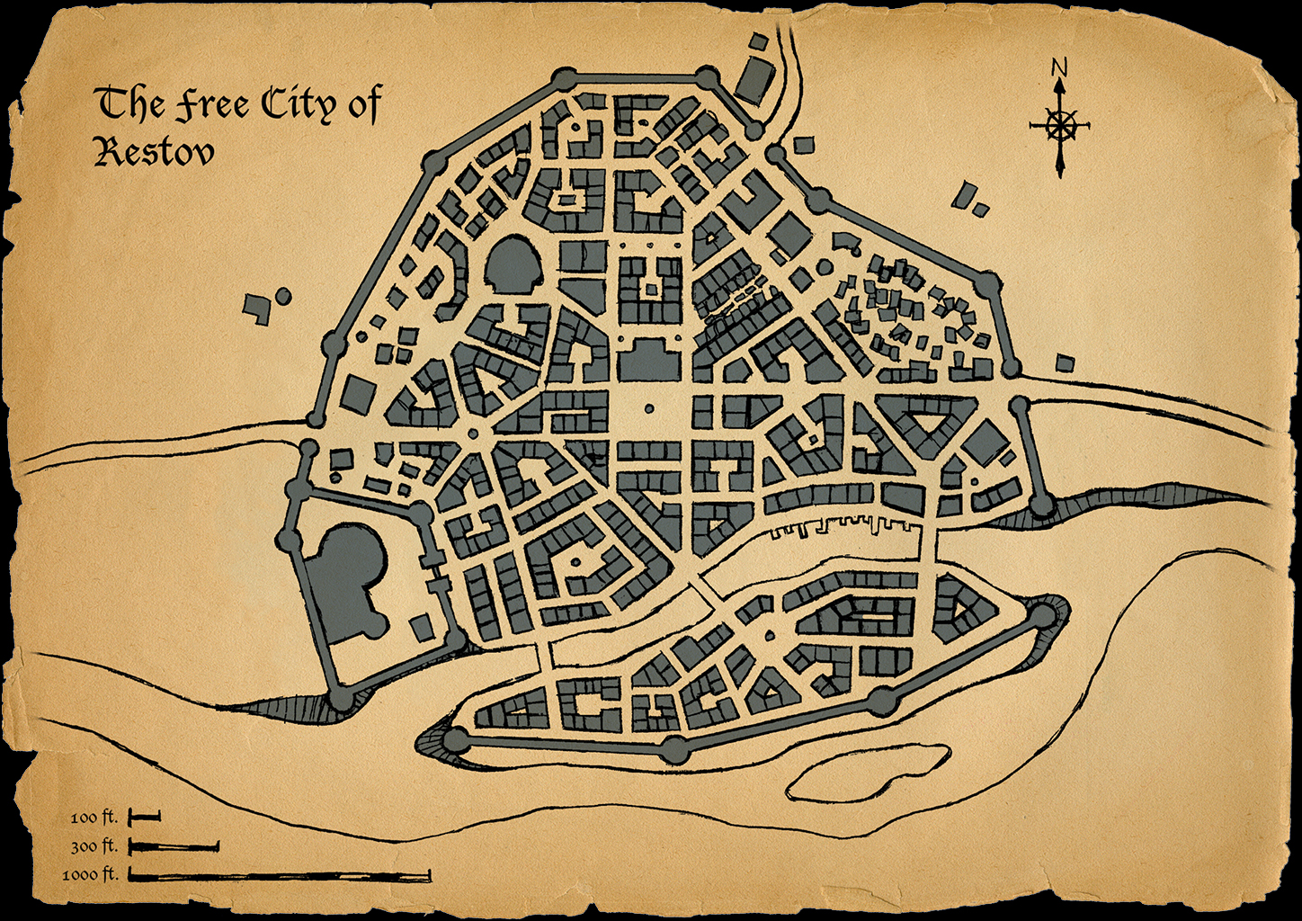 This is a simple city map I created for an upcoming Pathfinder campaign I plan to run.  I was in need of a city map and couldn't find one that was suitable.