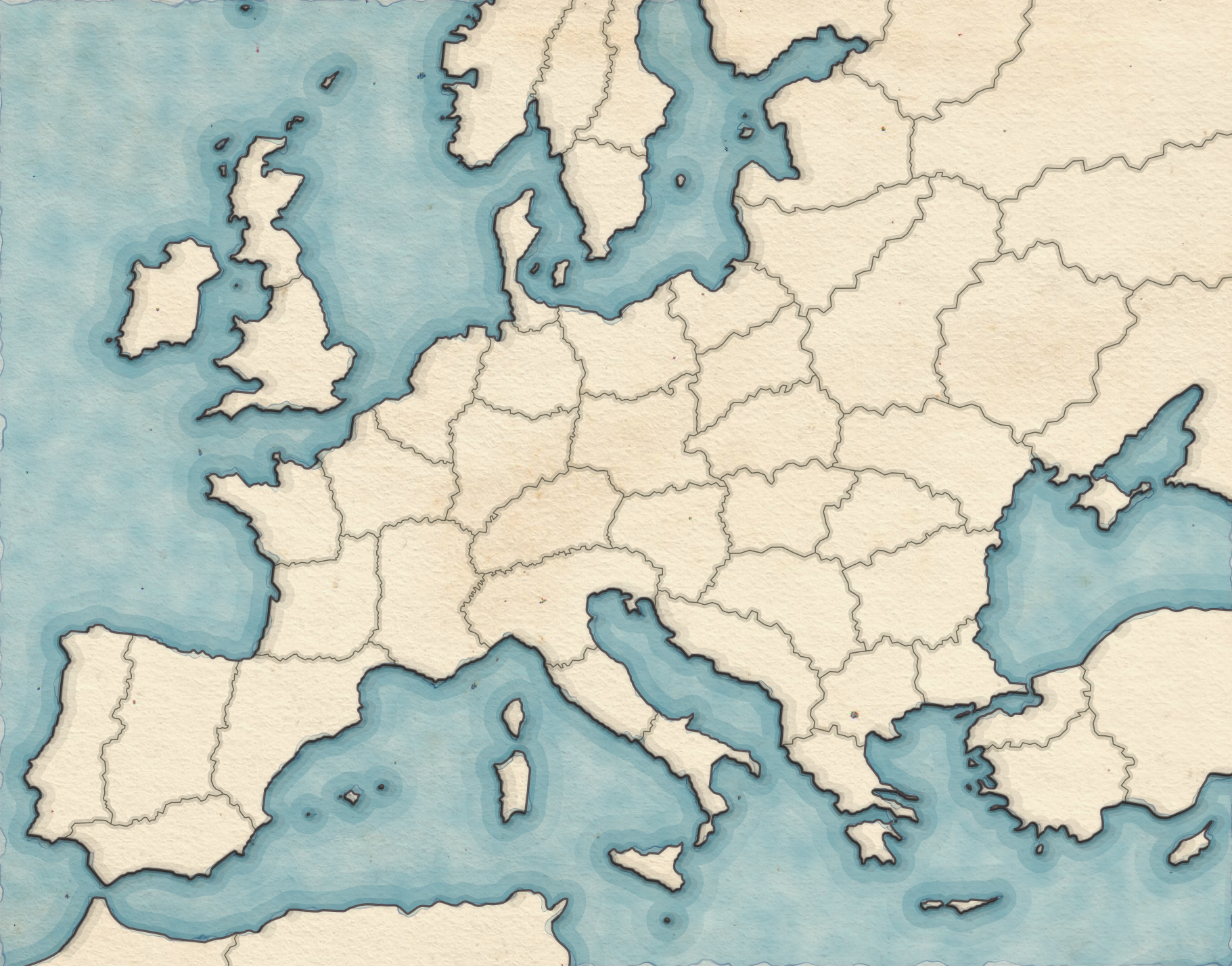 1. Began with a map of Europe, divided into regions. I wanted a water-colour texture for this map.