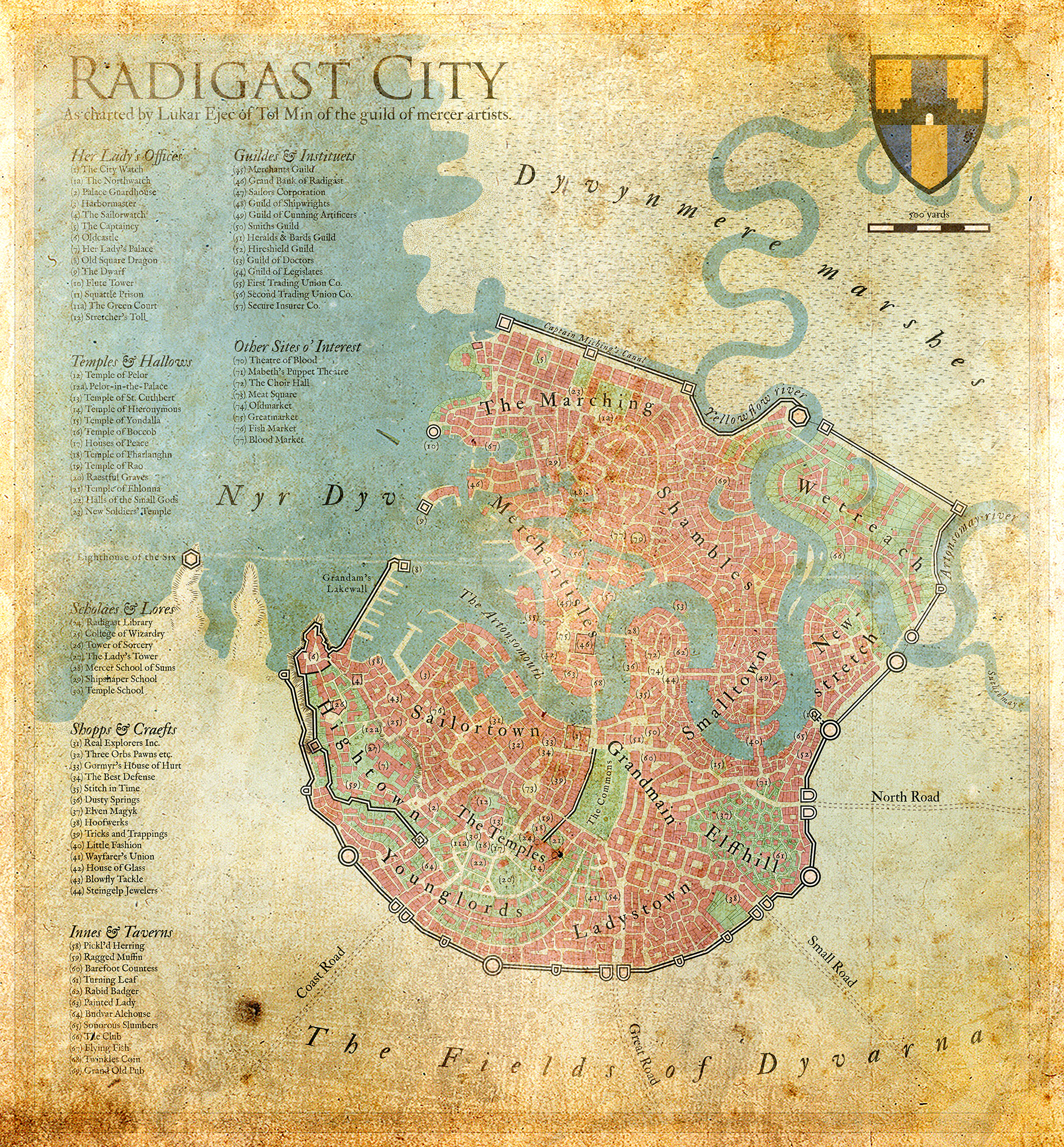 An aged map of the City of Radigast (Greyhawk setting).