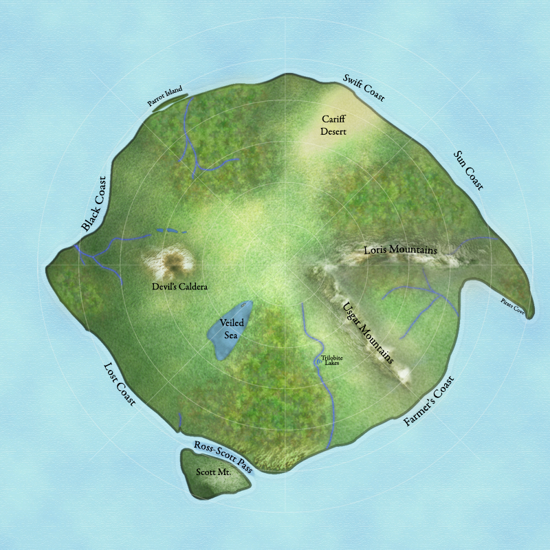 Galveron main (northern) continent.  I find mountains extremely difficult.  No cities listed on this map, but I have a version with them, a version with religious affiliation and temples, and a version with just famous taverns.