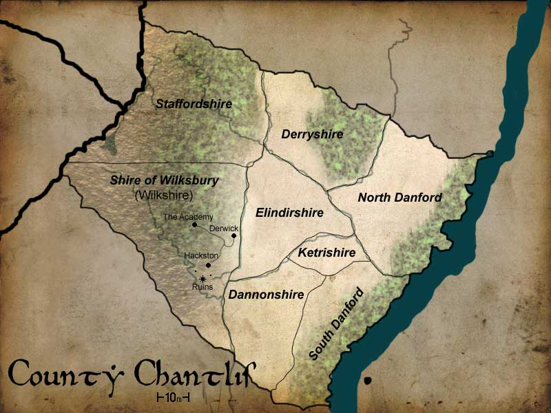 County Chantlis: An early county map for the country of Iviria where a game was to be set.
