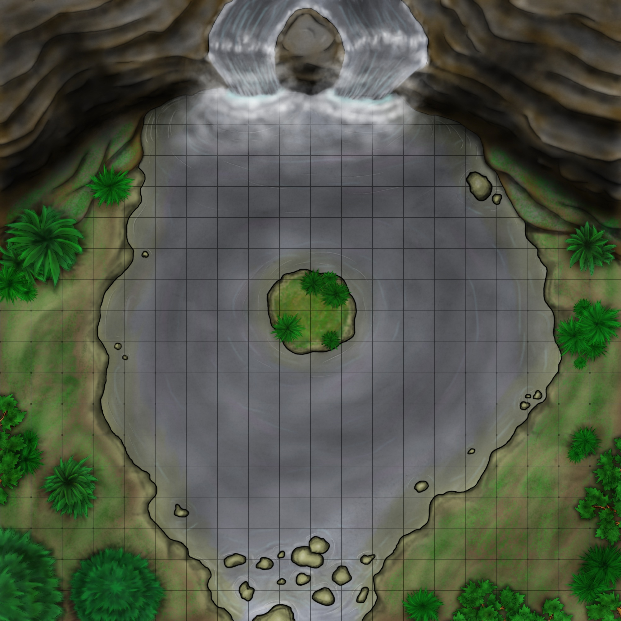 Moonless Falls Battlemap