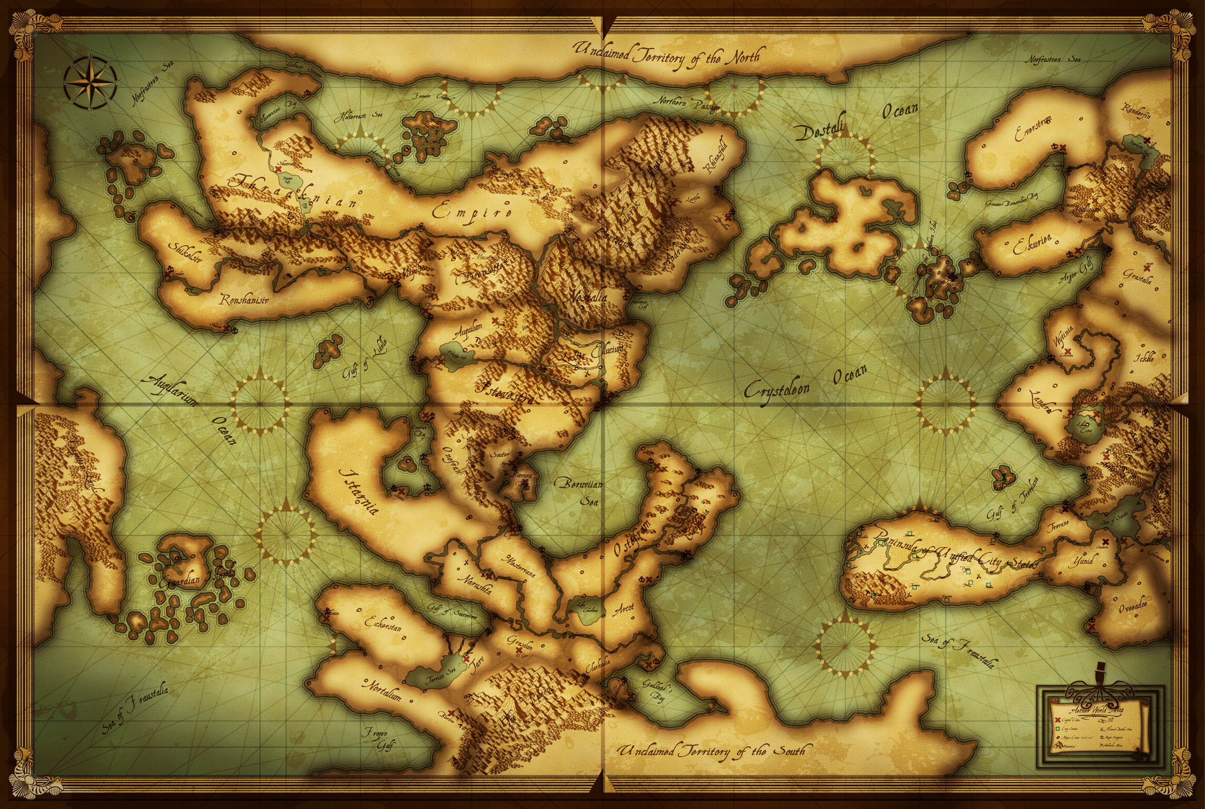 Photoshop World Map (Mercator Rhumb Lines) Small