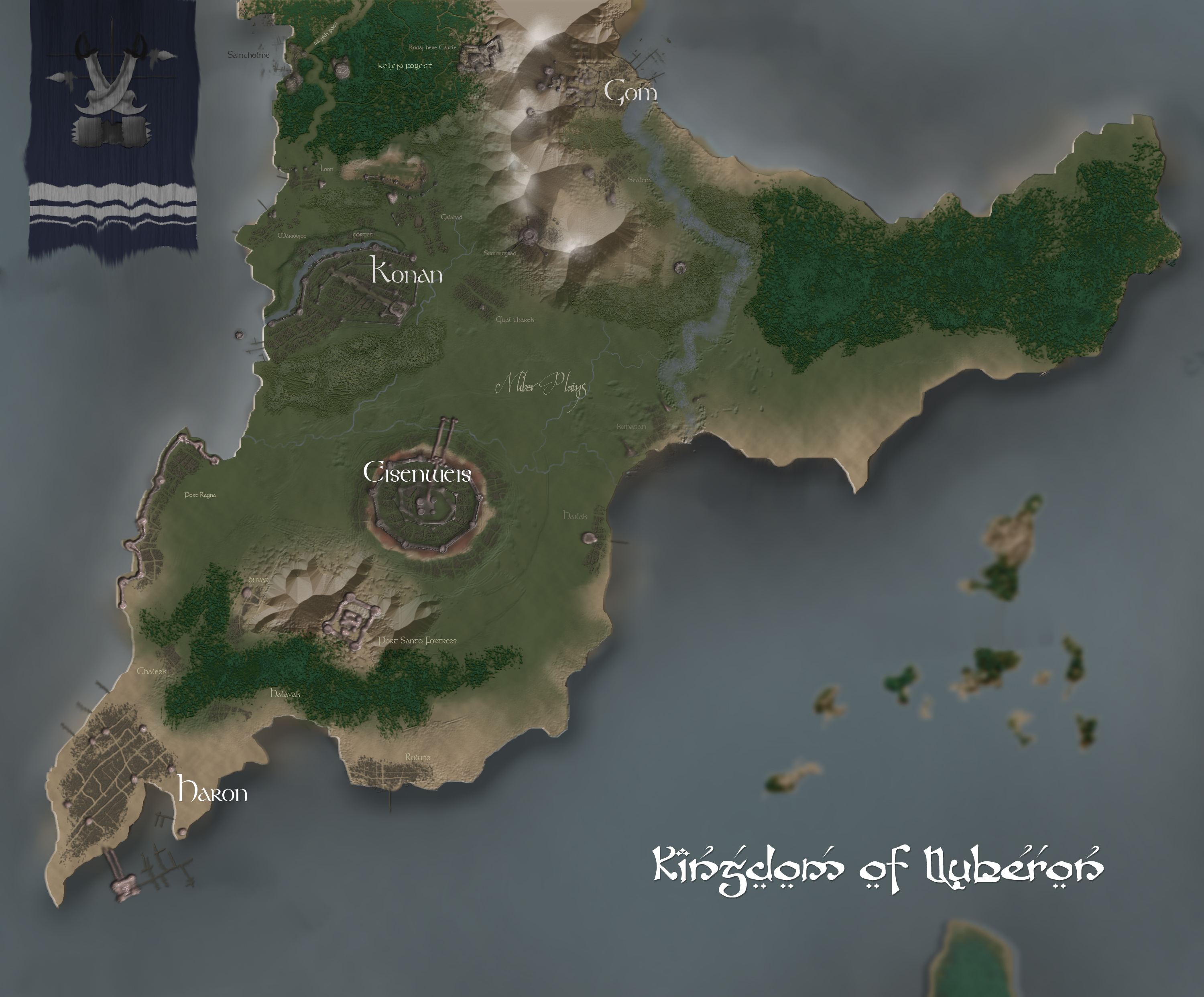 "The Kingdom of Nuberon(Incomplete) -- Caital: Eisenweiss. Known for its rich sea industry made possible by its sea faring city of haron. Its northwest city of Gom has cultivated the Mountains of Gomwarm, giving it the title ""mining capital of the west Earth"". Nuberons are known to be good masons. Nuberon Fortresses are known throughout all the lands as the firmest structures. Good examples of engineering marvels of their people are the cities of Konan and Eisenweiss. Despite all these advantages Nuberon is at imminent decline due to an impending civil war."