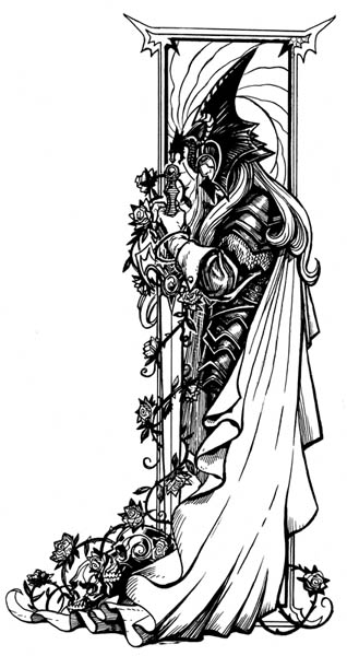 Ink drawing of Elric by Steve Ellis