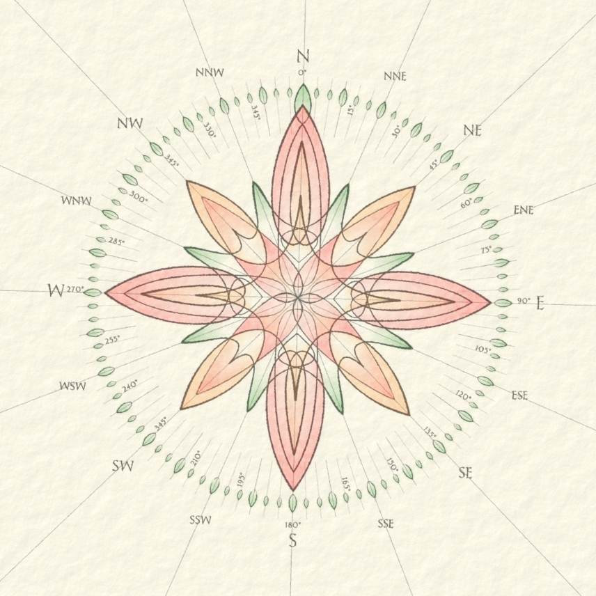 Flowery Scrolly Compass Rose, January/February 2012 Light Challenge