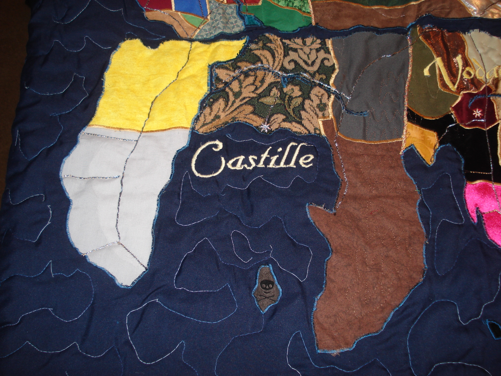 Castille - Spain.  The patterned fabric in the middle (the grain-growing heartland) was very thick and stiff, but otherwise things went well.  The island at the bottom is ruled by pirates.